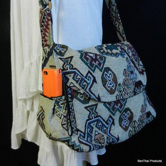 Hippie Hobo Messenger Bag Hmong Camera Purse Handbag Boho Thai Sling Canvas Cotton - IKM30 #camerapurse