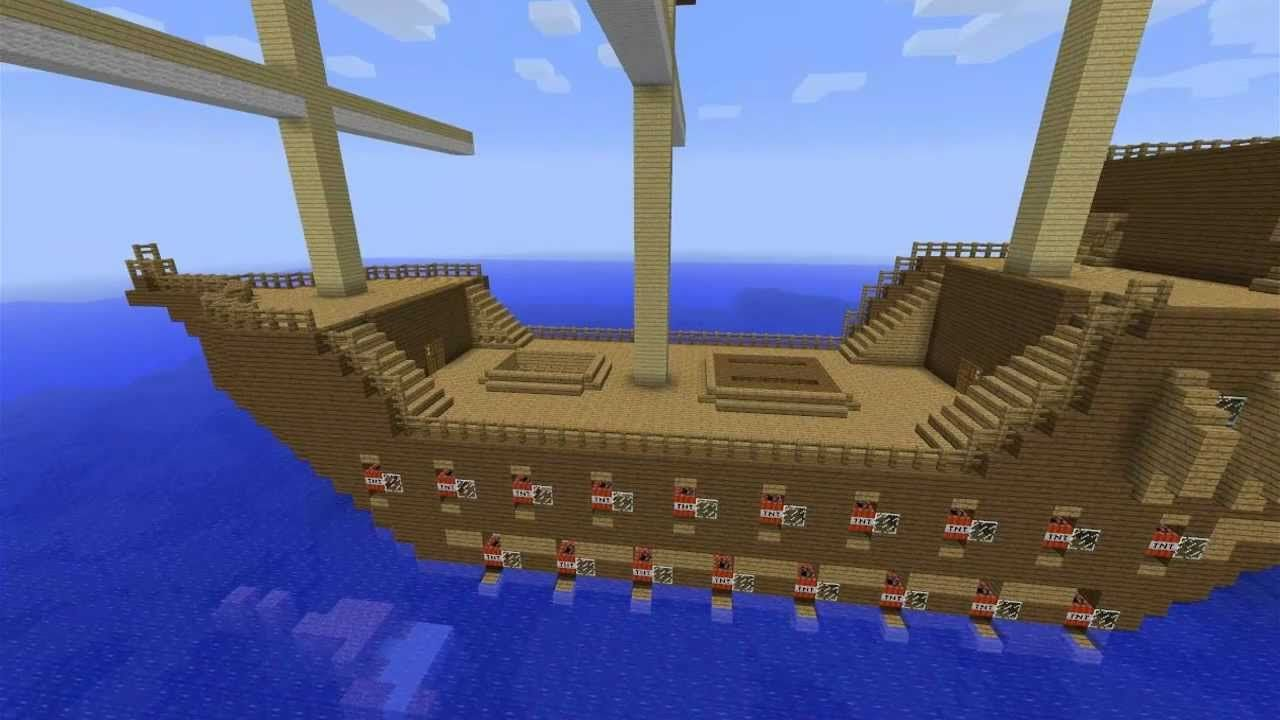 Minecraft Ship With WORKING TNT CANNONS HMSCreeper YouTube - Minecraft western hauser