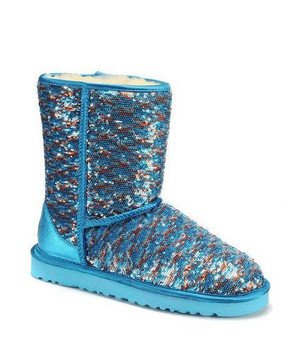 Fish Pattern Ugg Sparkle Boot Green Sequin