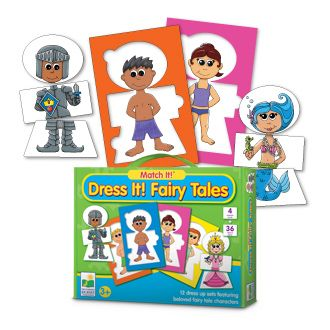 The Learning Journey Dress it! Fairy tales is a set of three-piece puzzle pairs featuring beloved fairy tale characters. Children will use their imagination to create the different lovable characters, such as princesses, knights and mermaids. Bright, colorful illustrations help children match the correct pieces or mix the pieces to create a new fairy tale character of their own.     Recommended Ages: 3+ years old.$11.99