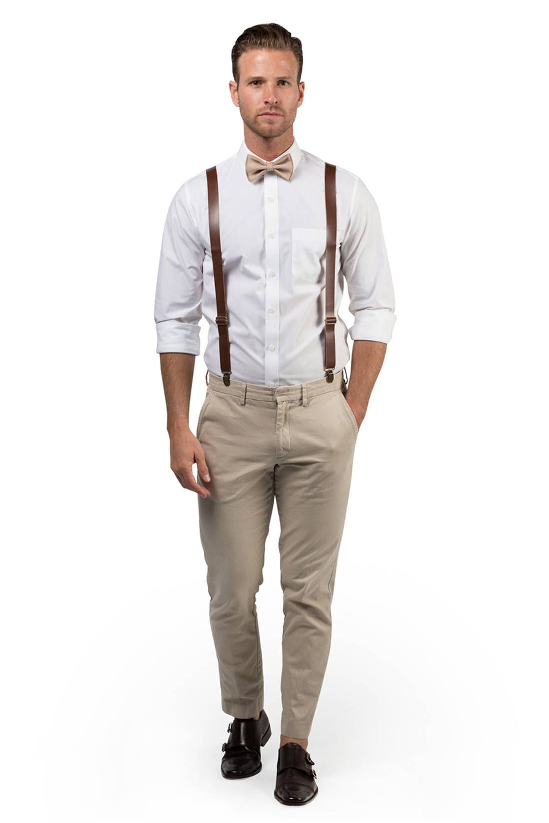 435959534cfd Brown Leather Suspenders & Beige Bow Tie -- Ring Bearer Outfit -- Bow