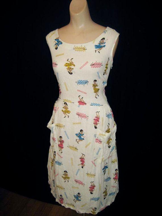 S A L E Vintage 1950's Novelty Print Flapper Wiggle Dress ...