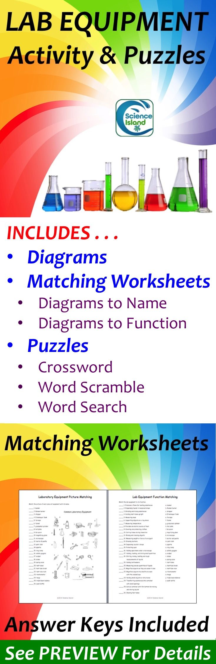 Addition Mad Minute Worksheets Pdf Lab Equipment Activity And Puzzles  Lab Equipment Word Search  Direct Object Pronouns Spanish Worksheet With Answers with Spanish Worksheets Middle School Word Includes Labeled And Lettered Diagrams Of Common Lab Equipment Matching  Worksheets To Assess Identification And Progressive Verb Tense Worksheet Word