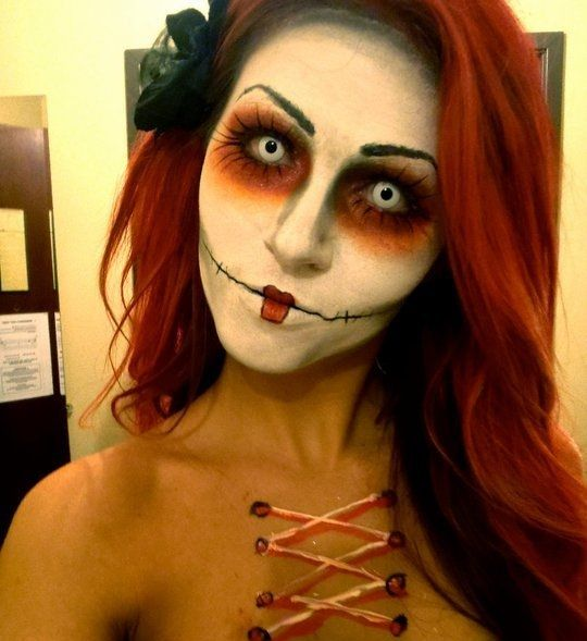 Sally, Nightmare Before Christmas costume Halloween Pinterest - face makeup ideas for halloween