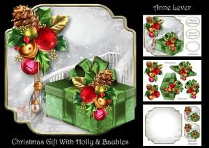 Christmas Gift with Holly & Baubles