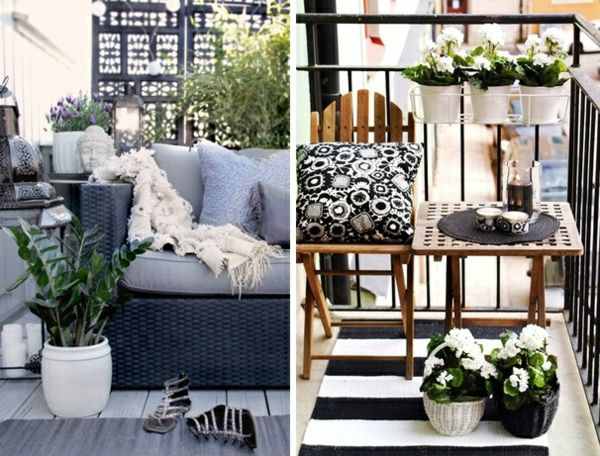Balkon Dekorieren weiße petunie palmen balkon wohntipps rattan holz möbel outdoor