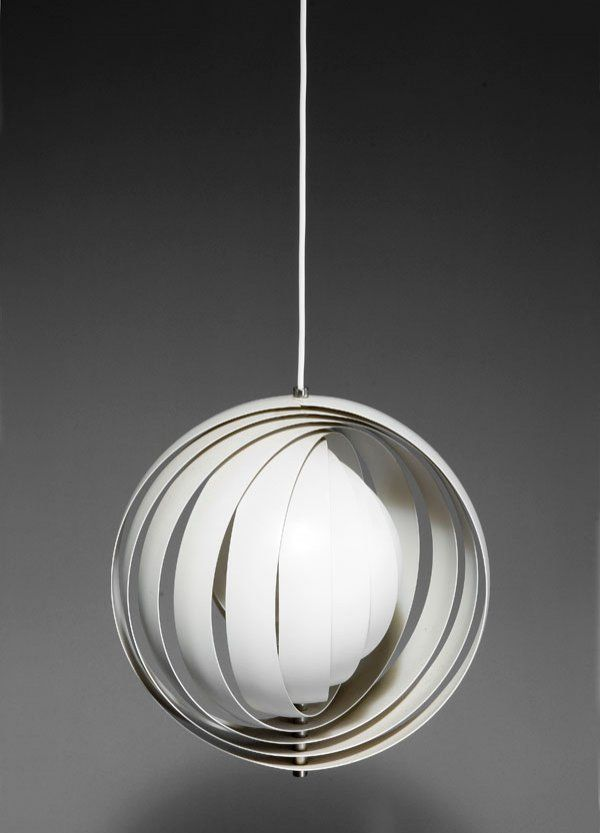 Verner panton enameled and chromed metal moon ceiling light for verner panton enameled and chromed metal moon ceiling light for louis poulsen aloadofball