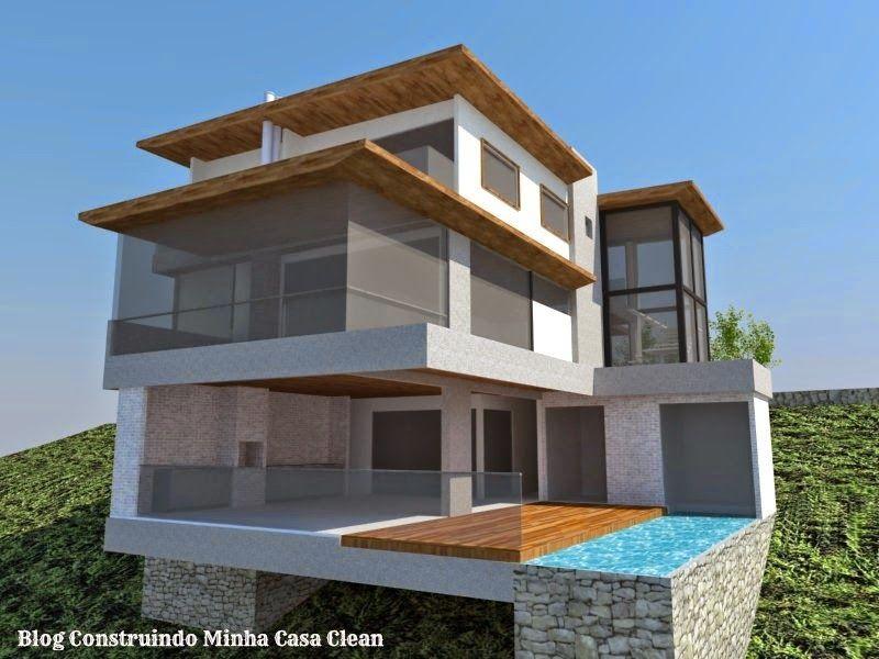 Fachadas de casas em terrenos em declive como construir for Construir casa