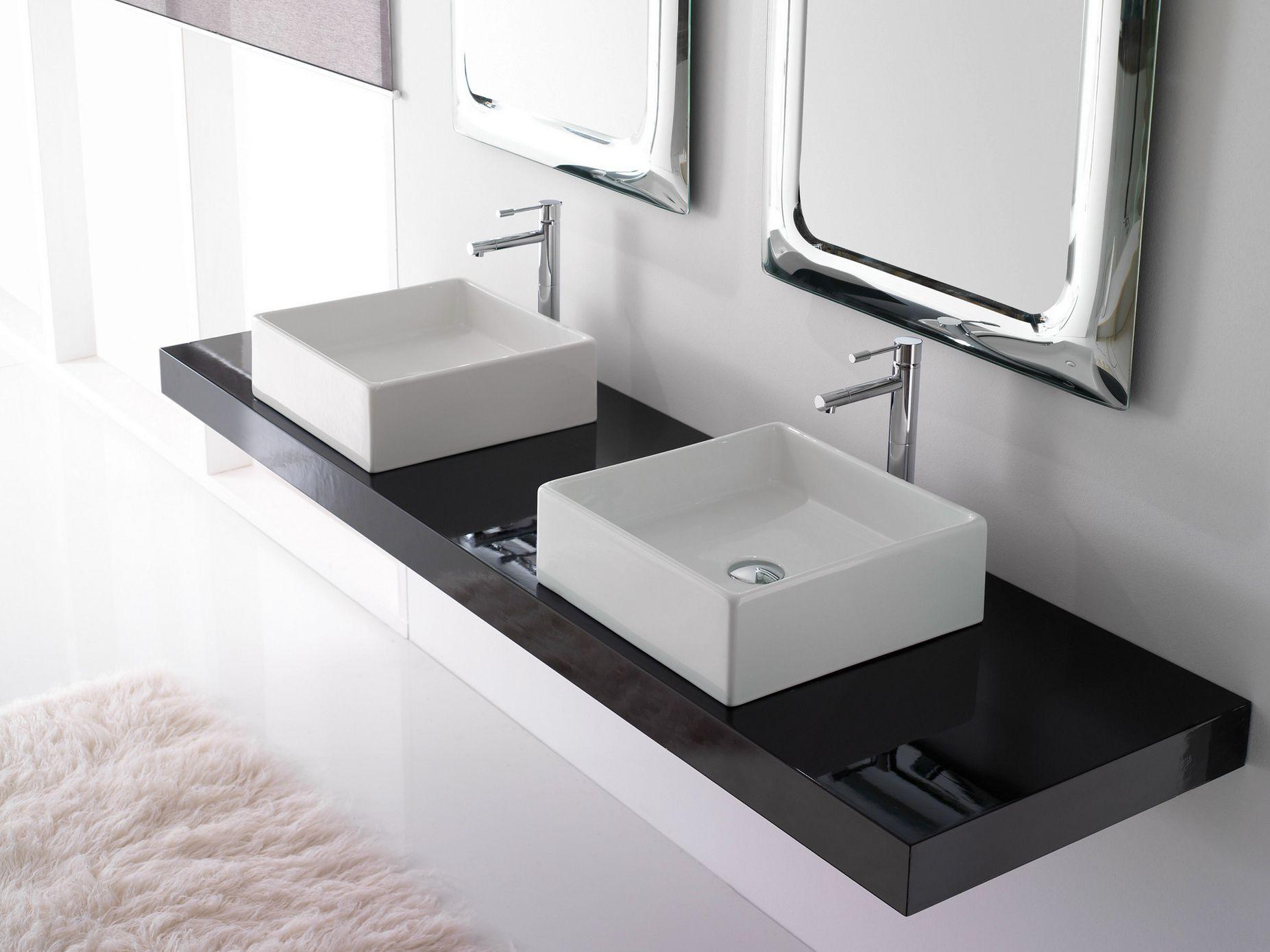 vasque poser carr en c ramique teorema 40 by scarabeo. Black Bedroom Furniture Sets. Home Design Ideas