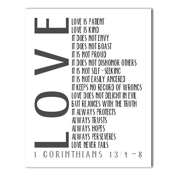 Printable Scripture 1 Corinthians 13 4 8 Love Never Fails Print