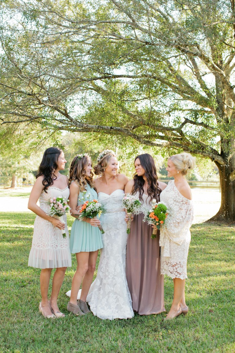mix-and-match #bridesmaids dresses | Photography: Chelsey Boatwright Photography - chelseyboatwright.com  Read More: http://www.stylemepretty.com/2014/04/22/rustic-southern-plantation-wedding/