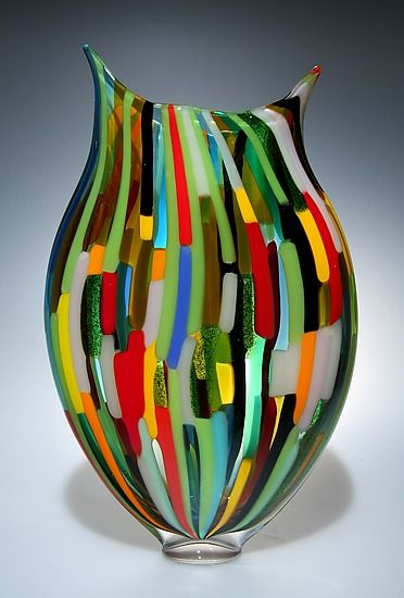 """Mixed Cane Foglio""  Art Glass Vessel"