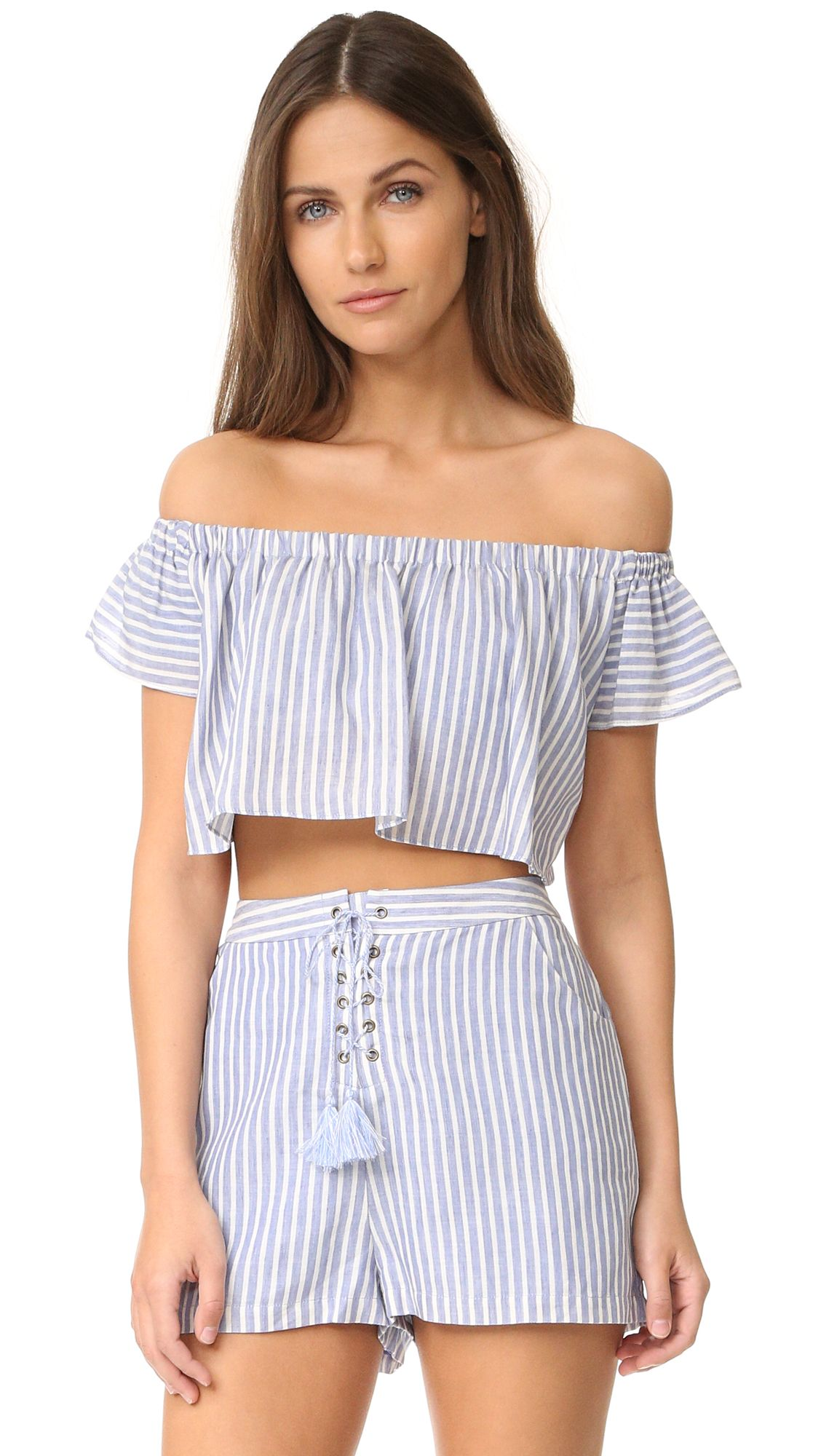 Haven Co-Ord Striped Off Shoulder Crop Top - Chambray stripe The Jetset Diaries Shop For Sale Recommend Cheap Free Shipping Find Great FRdgMjO37z