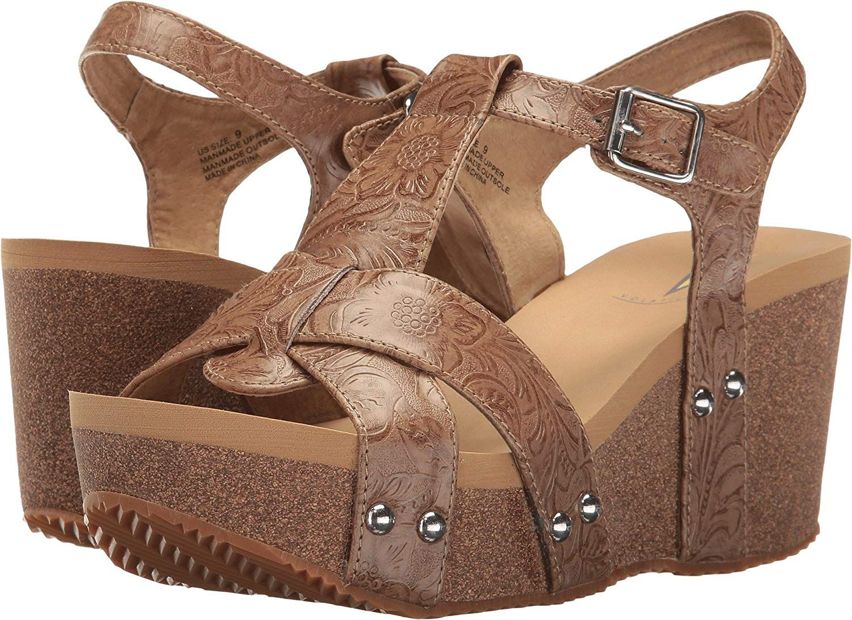 9d0ada32a34 Volatile Women s Pamela Wedge Sandal. Multi strap embossed quarter strap on  wedge. Women s Shoes