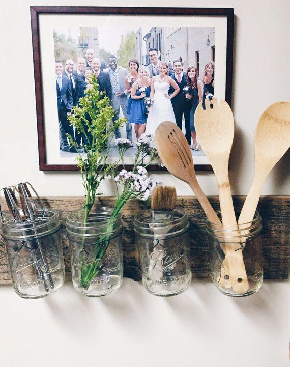 reclaimed wood mason jar organizer - makeup organizer bathroom