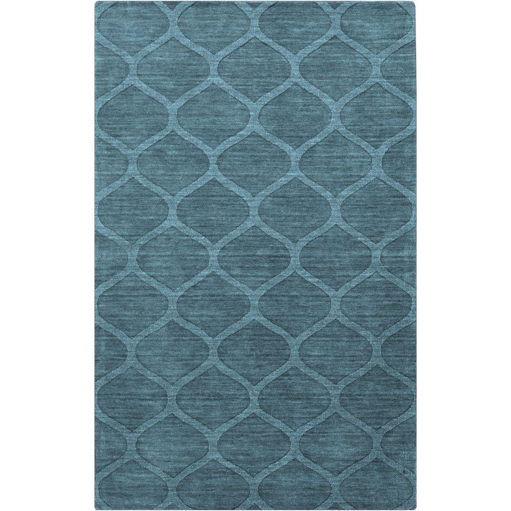 Hand Crafted Solid Teal Blue Lattice Winona Wool Area Rug 2 X 3 Surplus Ocean 2 X 3 Surplus Area Rugs