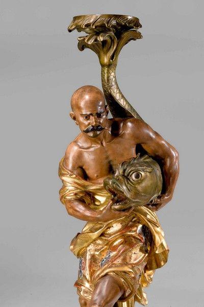 Pair XL Italian Bronze Blackamoor Statues Male Figurines