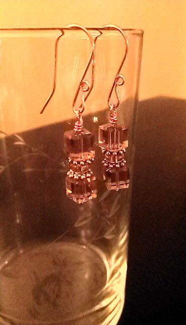 Smoked cube topaz glass bead/ rose gold wire earrings