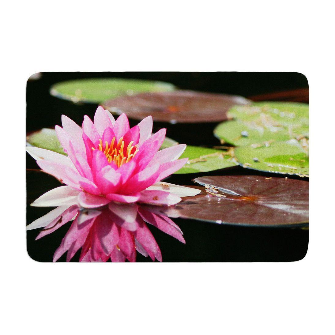 Memory Foam Water Lily.Angie Turner Water Lily Green Pink Memory Foam Bath Mat