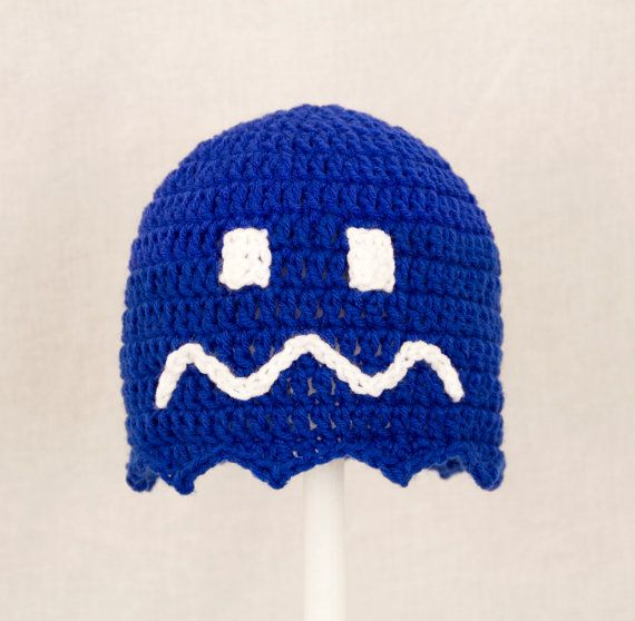 Pacman Ghost Hat Royal Blue Crochet Beanie send size | Cutiehats ...