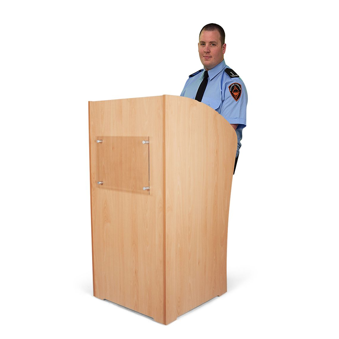 Security Guard Podium Or Lectern Made From A Combination Of Wood And Acrylic Strong Substantial Design With Built In Loc Podium Design Security Guard Lectern