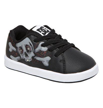 chaussures DC shoes avec une tête de mort - noir et blanche