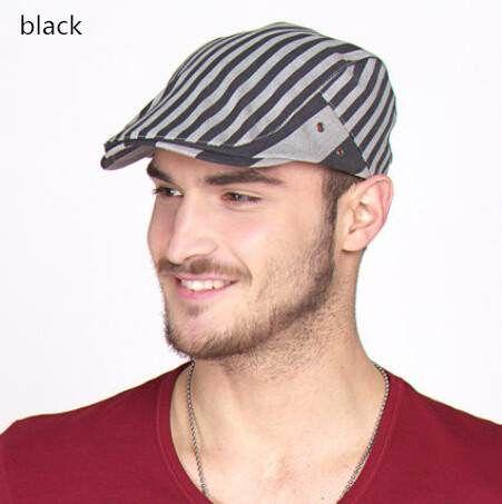 98548609993 Fashion stripe flat caps for men outdoor wear summer hats