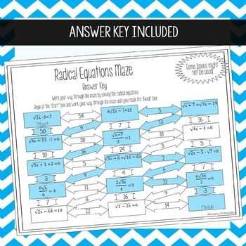 Radical Equations Worksheet Beginner Maze Activity Scientific Notation Notations Radical Equations Solving radical equations worksheet
