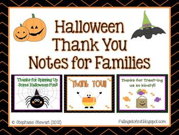 Halloween Thank You Notes #businessthankyoucards These little notes are a quick and easy way to say Thank You to anyone who helped make your classroom Halloween celebration a little more special. Give to people who... *Donated goodies *Helped coordinate the events *Stopped by to enjoy some time with their child in your room, Everyone appre... #businessthankyoucards