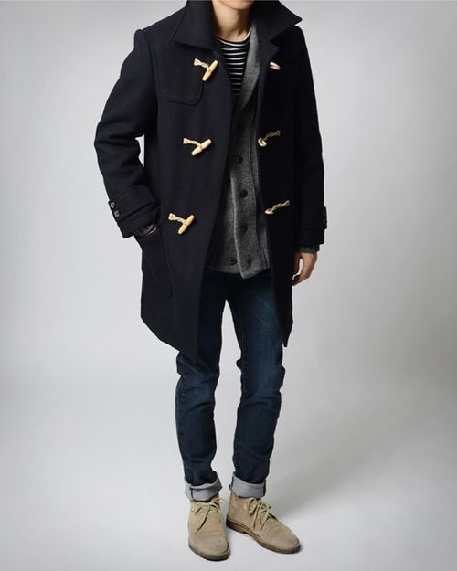 preppy staples // dessert boots, denim, duffel coat, cardigan