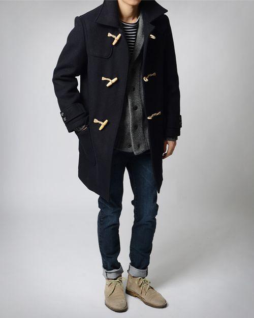 preppy staples // dessert boots, denim, duffel coat, cardigan