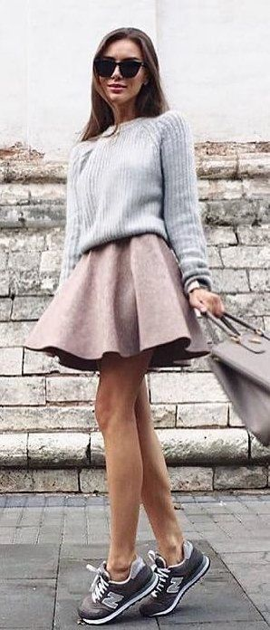 e8237989c20 women s gray crew-neck sweater and brown mini skirt outfit