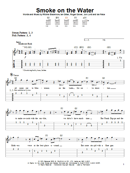Smoke On The Water by Deep Purple - Easy Guitar Tab - Guitar ...