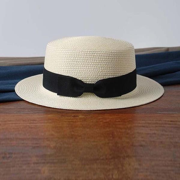 81dfaa56e1c FuzWeb  Dexing  summer straw boater hat Flat Sun Hat Women s bow Straw  summer