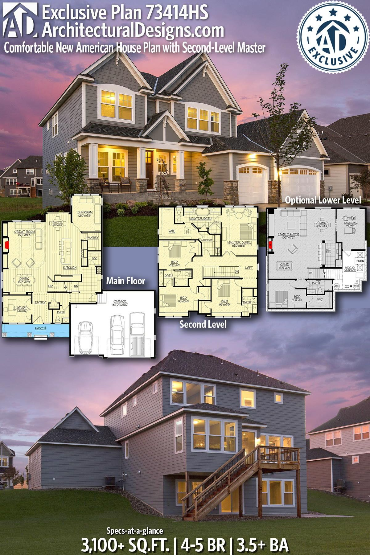 Plan 73414hs Comfortable New American House Plan With Second Level Master In 2021 American Houses House Plans Dream House Exterior