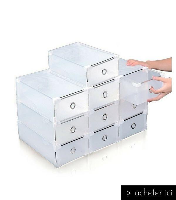 boîtes transparentes pour le rangement des chaussures   Boite a chaussure, Tiroir à chaussures ...