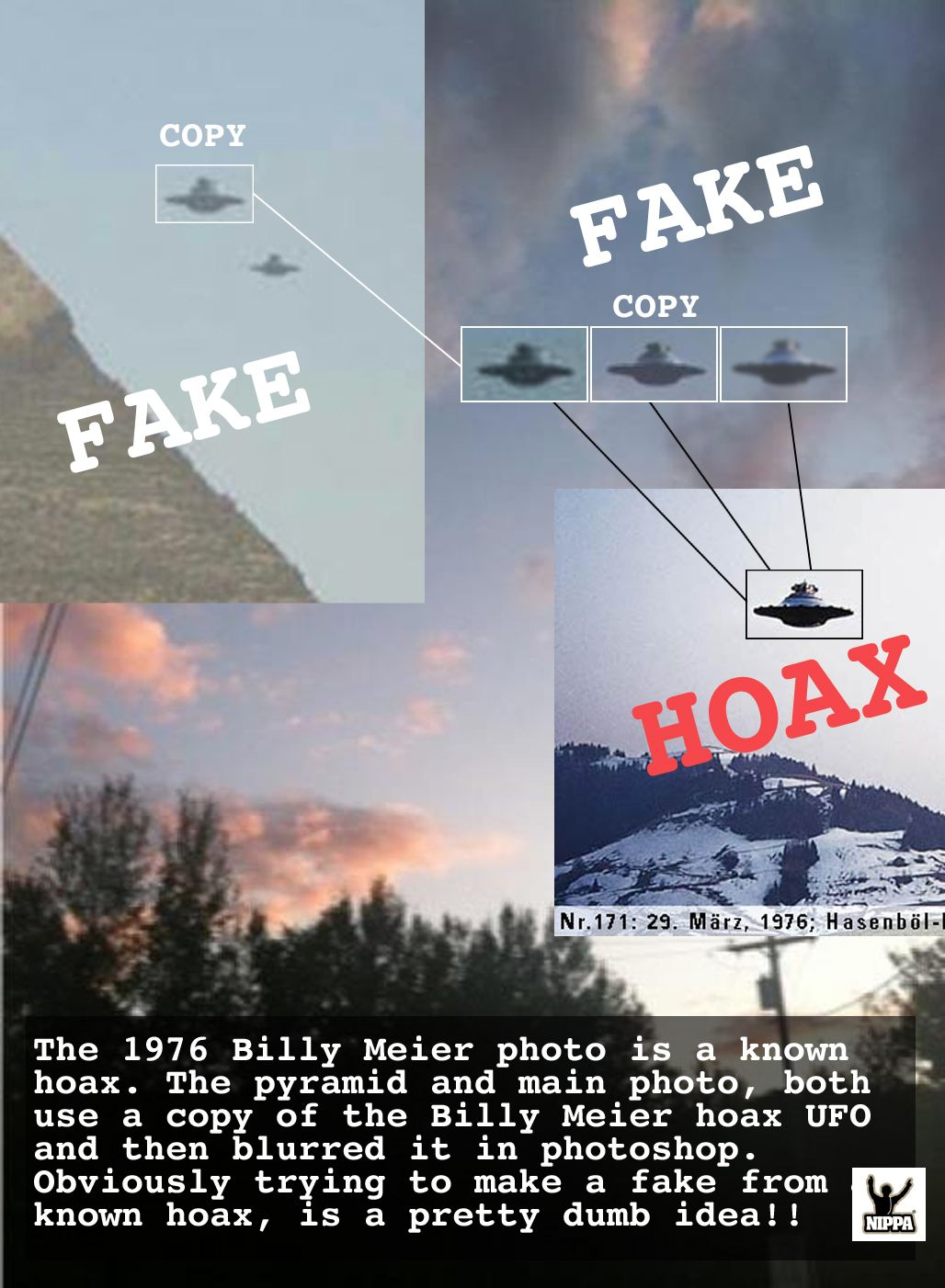 Two photos debunked in one  The 1976 Billy Meier photo is a