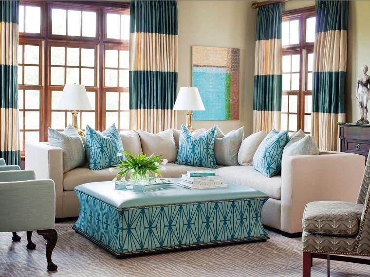 cortinas a rayas para el saln moderno