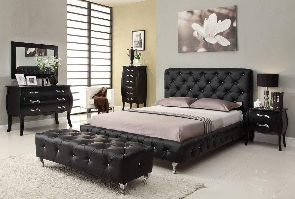 Elegant Italian Bedroom Furniture Set Black White Theme 3827 Interior Design Bedroom Furniture Design Upholstered Bedroom Set Black Bedroom Furniture Set