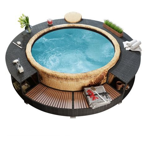 Black Poly Rattan Spa Surround Hot tub cover, Hot tub
