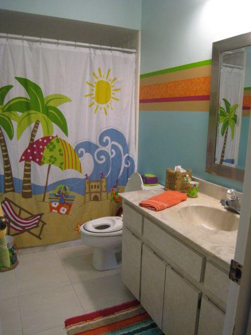 Aloha Beach Bathroom For Kids Like The Shower Curtain Beach Bathrooms Kids Bathroom Colors Childrens Bathroom