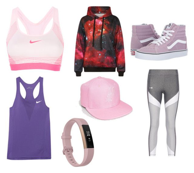 """Girls workout"" by cheesecake164 on Polyvore featuring NIKE, WithChic, Mitchell & Ness, Vans and Fitbit"