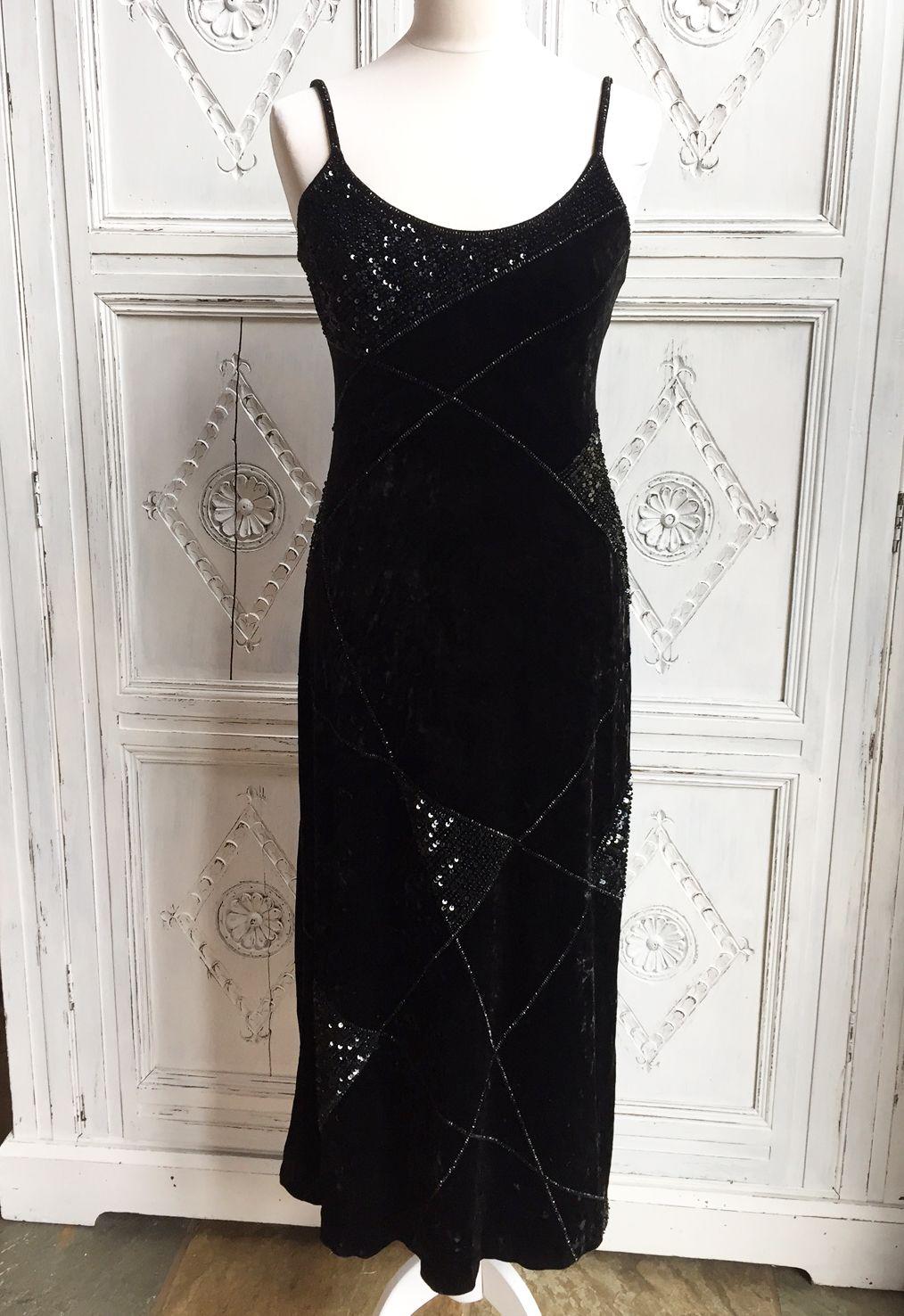 Vintage escada black velvet evening gowndress etsy scarlett