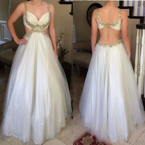 Outlet Ball Gown Floor Length Tulle Sleeveless White Beading Long Prom Dresses Backless (Outlet Prom Dress 43418)