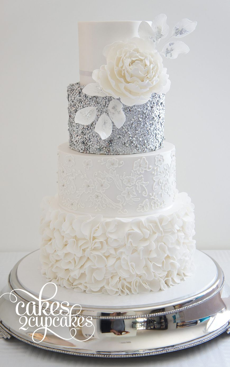 Pin by janice sands on Cakes | Pinterest | Wedding cake, Silver ...