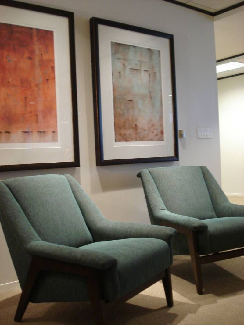 Artwork and upholstered seating for a Houston law firm