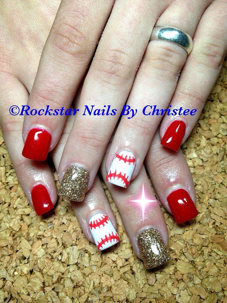 Rockstarnailsbychristee gelish acrylic nails baseball nails