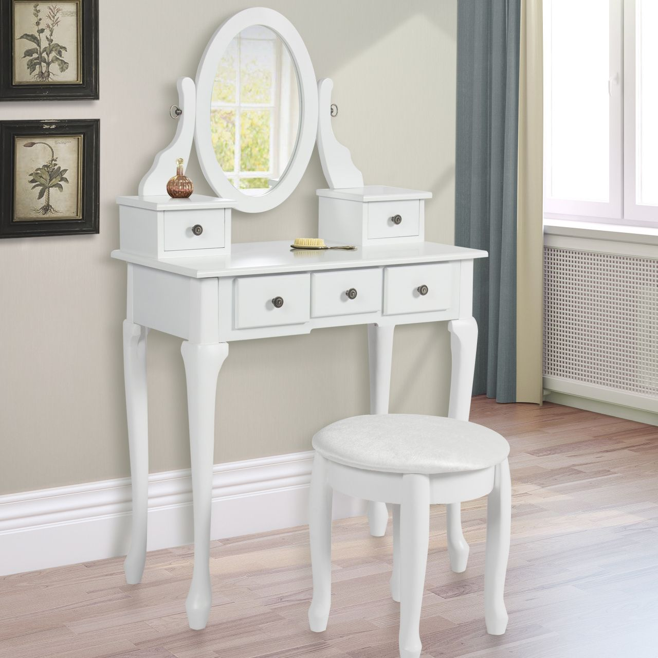 White Makeup Vanity Table Set W Bench   Custom Home Office Furniture Check  More At Http