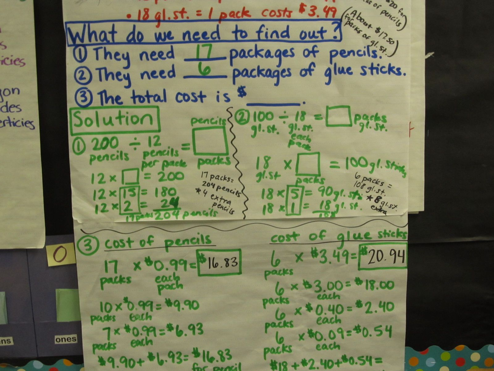 Solving Multi Step Problems 5th Math Anchor Chart 2 3