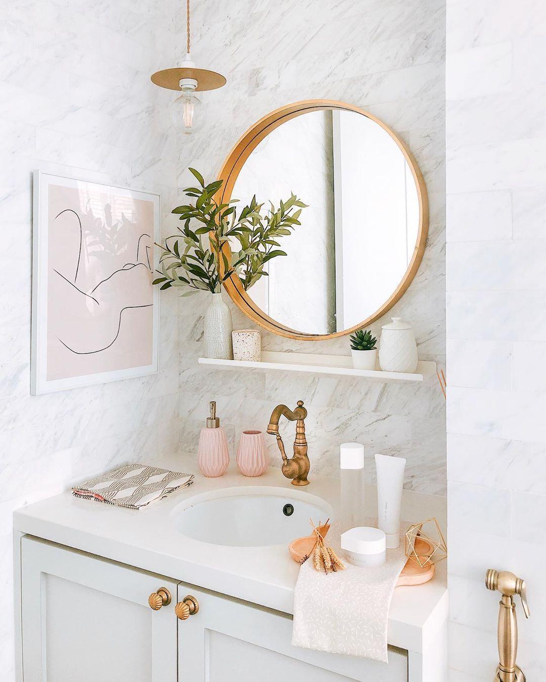 Jade Anthony On Instagram My Makeup Cosmetics Never Made It Onto Ig Because It Looks Like A Warzone Small Bathroom Decor Feminine Bathroom Bathroom Decor Feminine bathroom decorating ideas